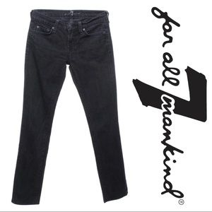 7 For All Mankind Roxy Black Slim Straight Jeans